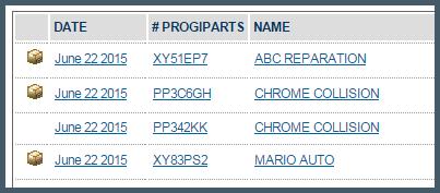 ProgiParts audit screen