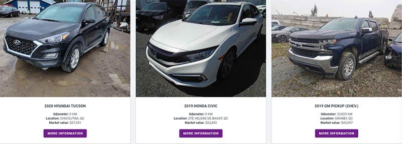 Sample vehicle listing